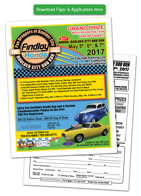 Boulder City Rod Run Car Show Flyer and Registration